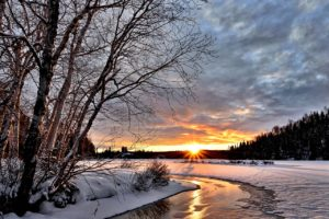 Beautiful winter landscape with water